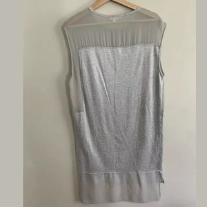 Helmut Lang Dresses - Helmut Lang Shift Dress Mesh Gray High Low